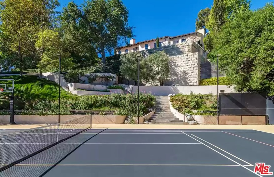 The house features a tennis court.