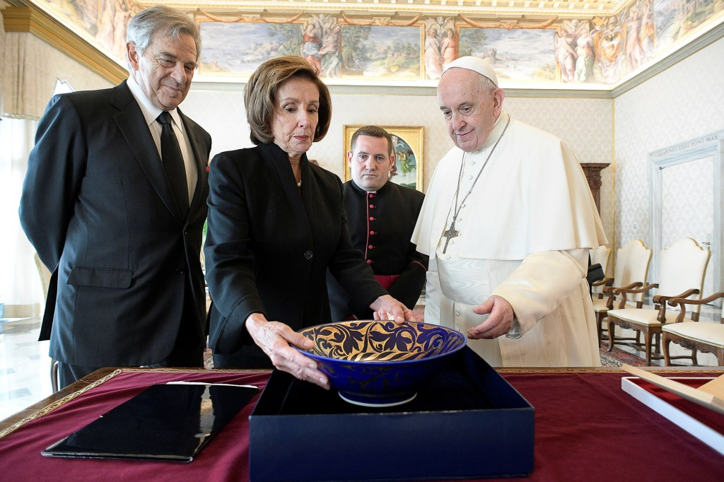 U.S. Speaker of the House Nancy Pelosi and her husband Paul Pelosi meet with Pope Francis at the Vatican.
