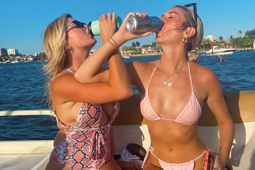 Brianna (right) partying with her best friend on a recent trip to Florida.