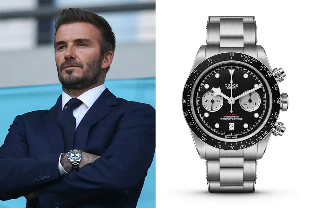 Side by side of David Beckham and his Tudor watch.
