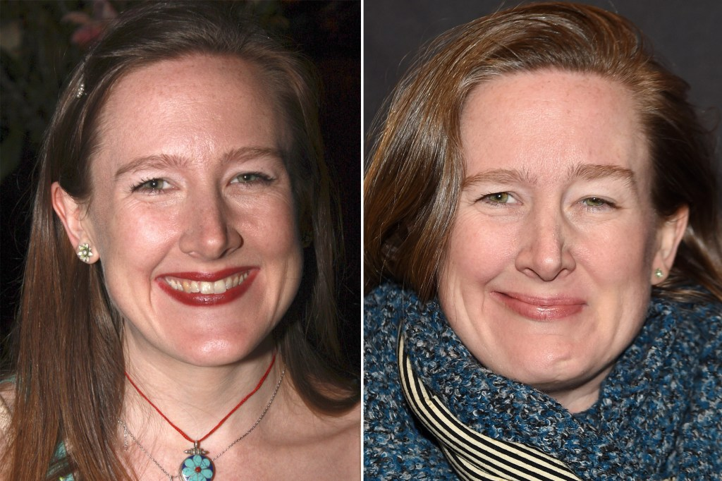 Sarah Ruhl in 2008 (left), two years before she developed Bell's palsy, and in 2016 (right) when she was still struggling to regain her smile.