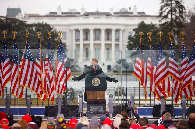 Then President Donald Trump speaks during a rally prior to the Capitol riots on January 6, 2021.