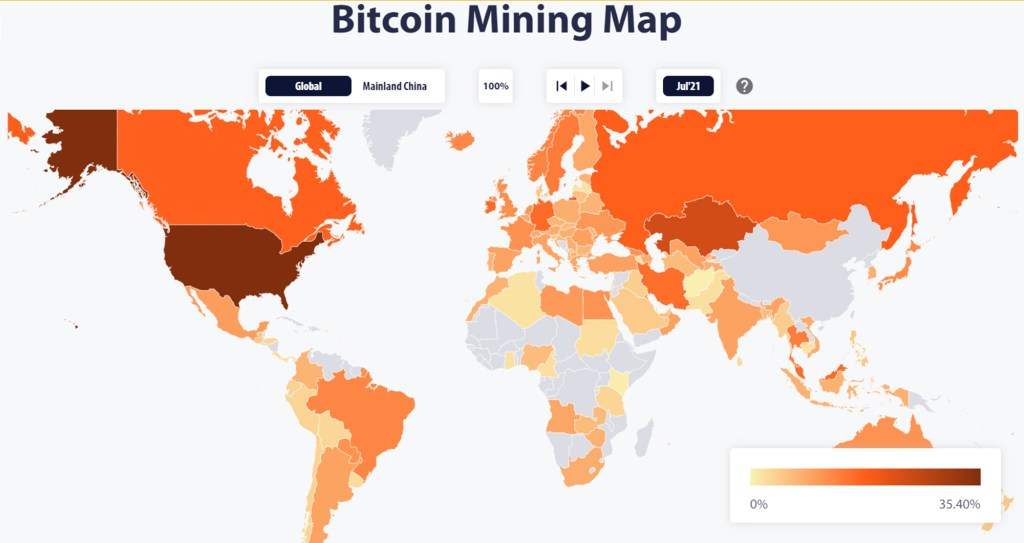 A map of the entire world that shows every country's Bitcoin mining rate. According to recent data, the US is in the lead.