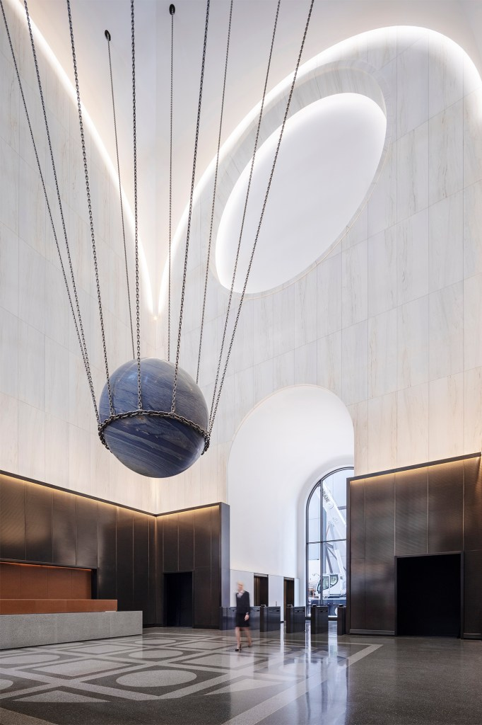 """""""Solid Sky"""" is suspended just 12-feet above the floor in a space where the ceiling soars to 65 feet."""