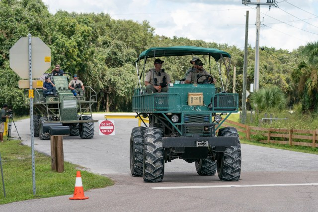 The FBI along with local law enforcement brings Swamp Buggies into the Carlton Reserve during the search for Brian Laundrie.