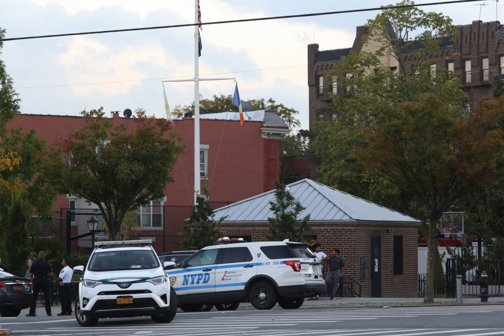 Scene of a young boy (teenager), shot this afternoon inside of a park (see image with blood on the ground), at Faile street and Spotfford Avenue in the Bronx, New York. The victim was shot in the leg, possible name Jose..
