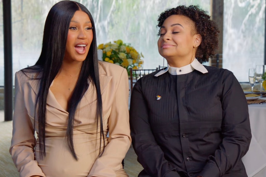 Cardi B (left) with Raven-Symone, who served as ringer bearer during the monumental celebration of love.