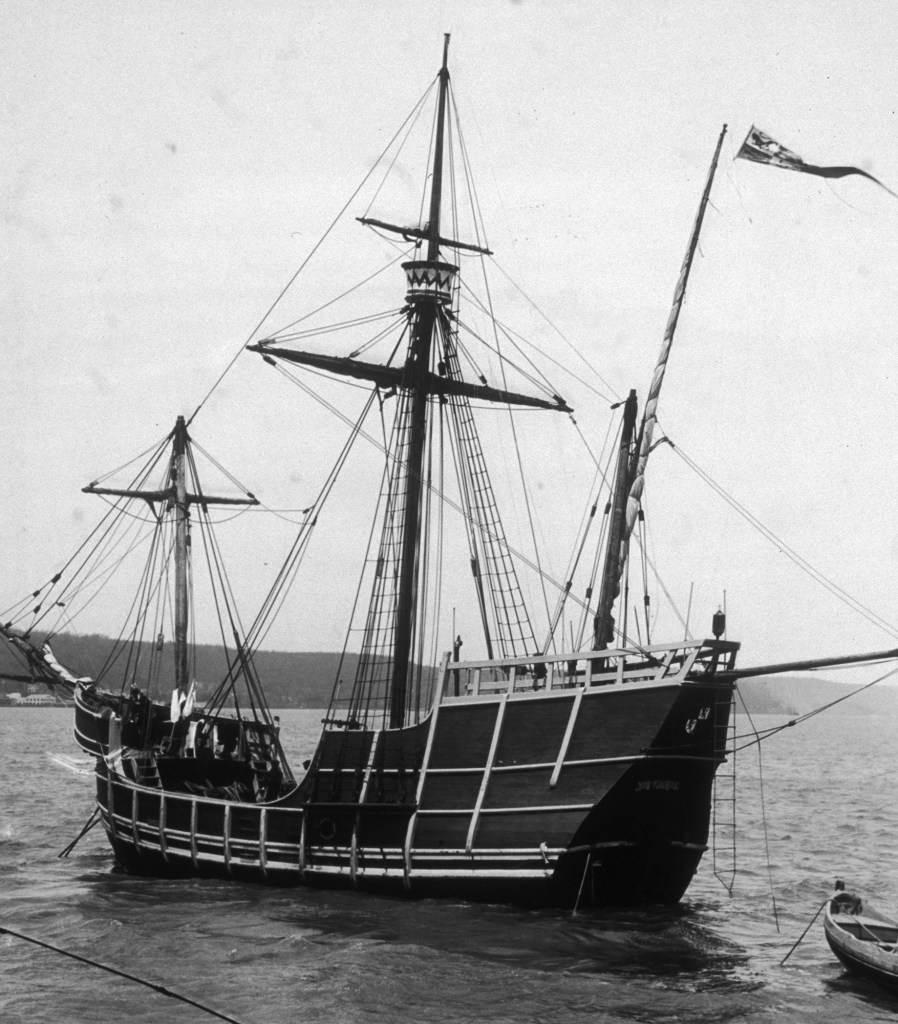 A photograph of a replica of one of Columbus' three ships, the three-masted caravel, Pinta.