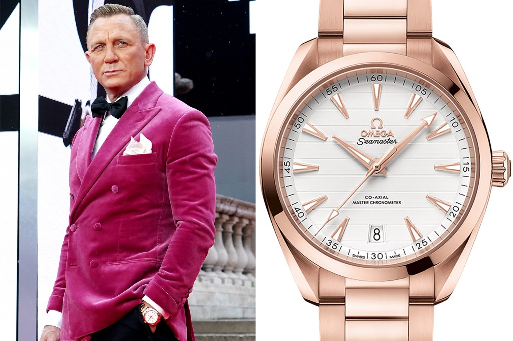 Side by side of Daniel Craig and his Omega watch.