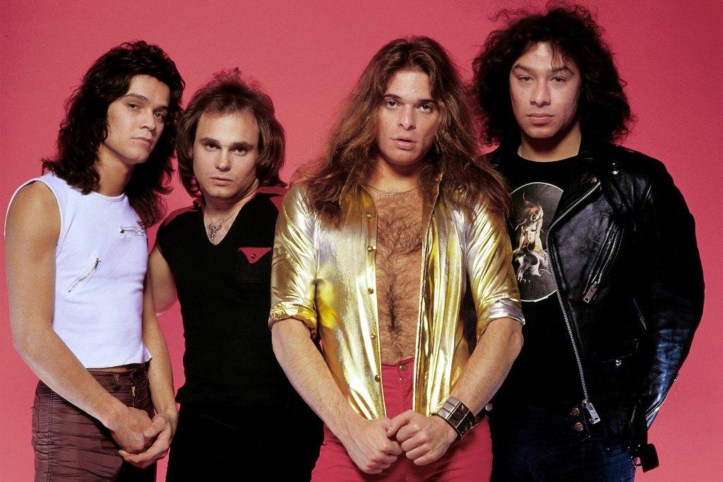 A group shot of Van Halen: Eddie Van Halen, Michael Anthony, David Lee Roth, Alex Van Halen.