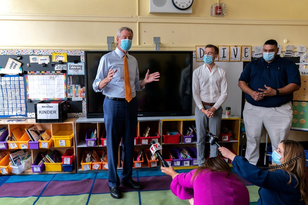 Mayor Bill de Blasio said on October 1, 2021 that 93 percent of teachers had received at least one shot of the COVID-19 vaccine.