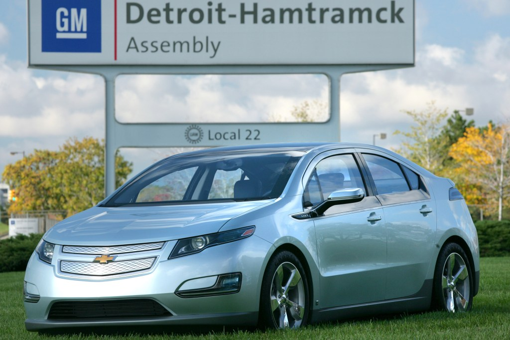 A Chevrolet Volt on the grounds of GM's Detroit plant