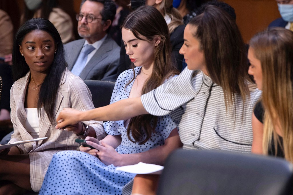 U.S. gymnasts from left, Simone Biles, McKayla Maroney, Aly Raisman and Maggie Nichols, arrive to testify during a Senate Judiciary hearing about the Inspector General's report on the FBI's handling of the Larry Nassar investigation on Capitol Hill, Wednesday, Sept. 15, 2021
