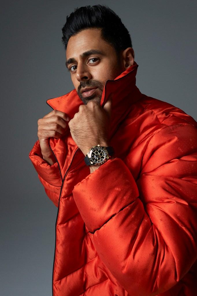 Hasan Minhaj, in a Fendi jacket, wearing a Rolex watch.