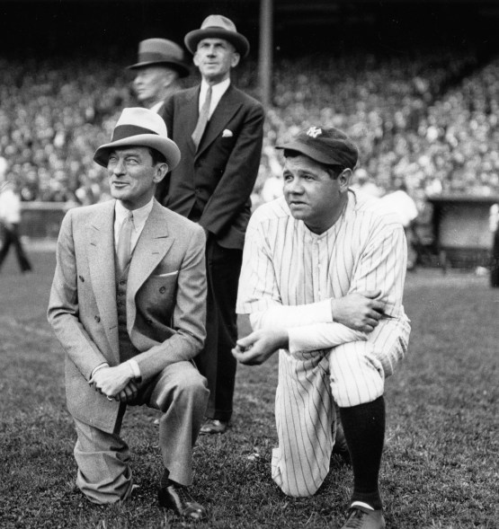 Babe Ruth, New York Yankees outfielder, right, helps out New York mayor Jimmy Walker with a publicity opportunity on Sept. 24, 1931.