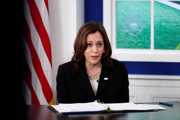 Vice President Kamala Harris leads a session of the President's online COVID Summit inside the Eisenhower Executive Office Building at the White House in Washington, U.S., September 22, 2021.