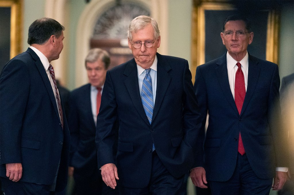 Senate Minority Leader Mitch McConnell was blasted by Chuck Schumer in his GOP speech, as Manchin was seen shaking his head in the moment.