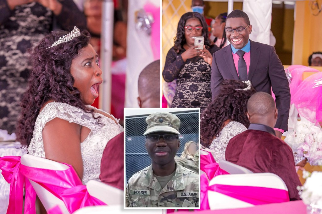 Guyana's Colice Parris was moved to tears after her son, US army soldier Raphael Holder, surprised her at her wedding after being away for three years, as seen in a touching clip.