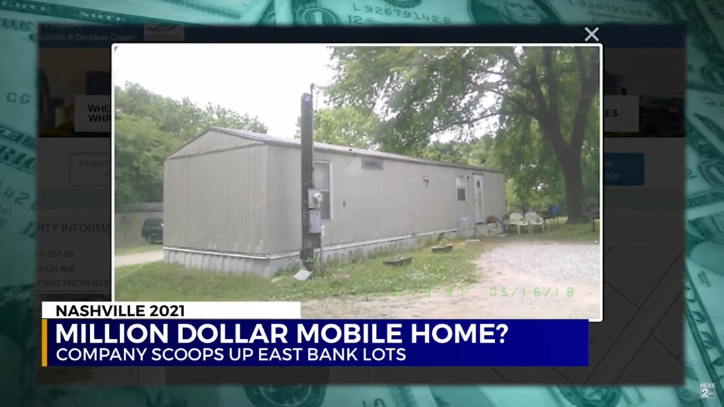 An exterior shot of the mobile home.
