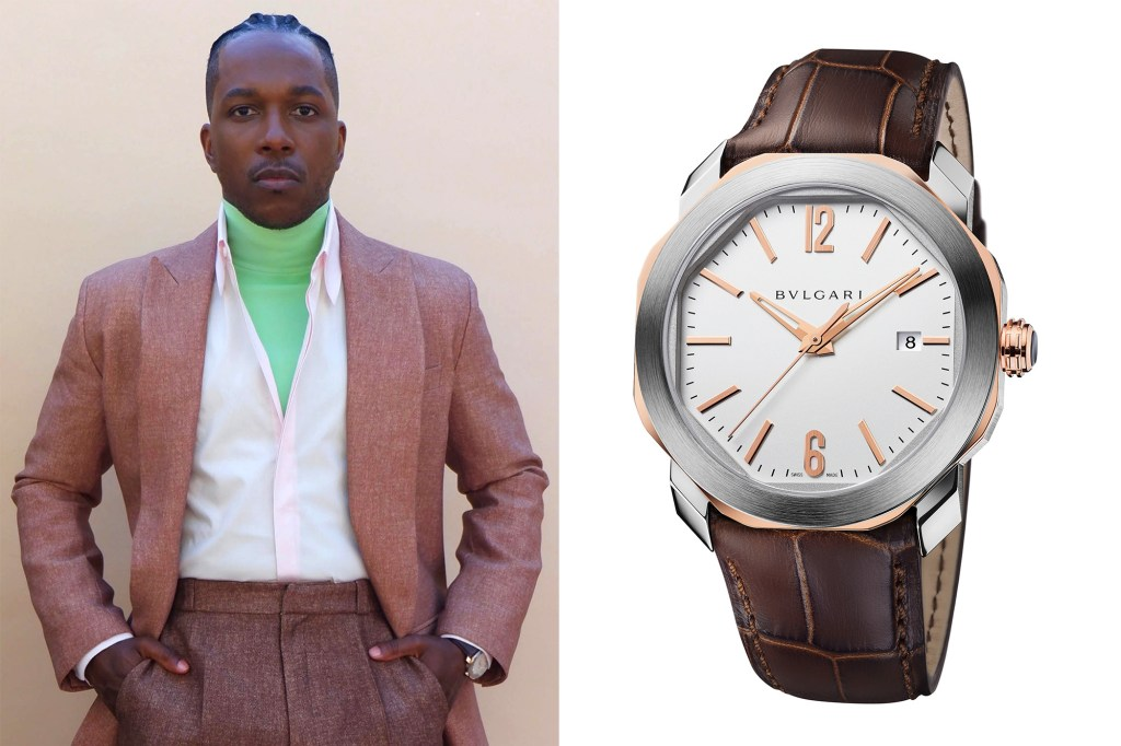A side by side of Leslie Odom Jr. and his Bulgari watch.