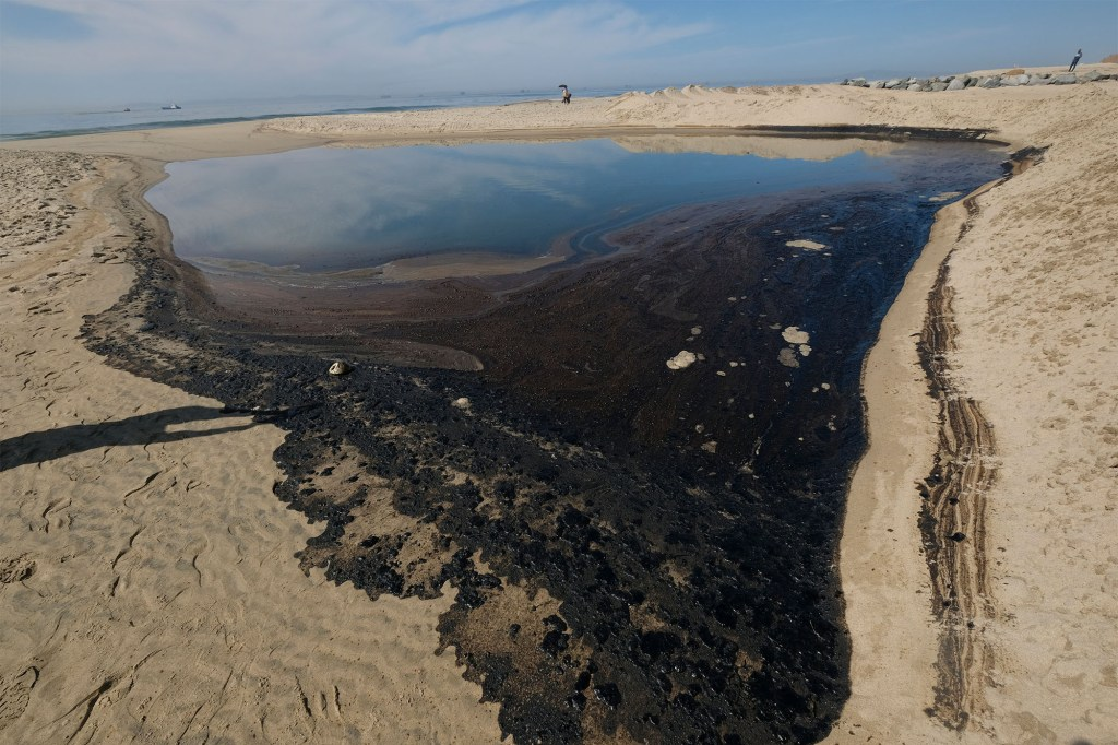Oil washed up on Huntington Beach after a large oil spill off the coast of Southern California on October 3, 2021.