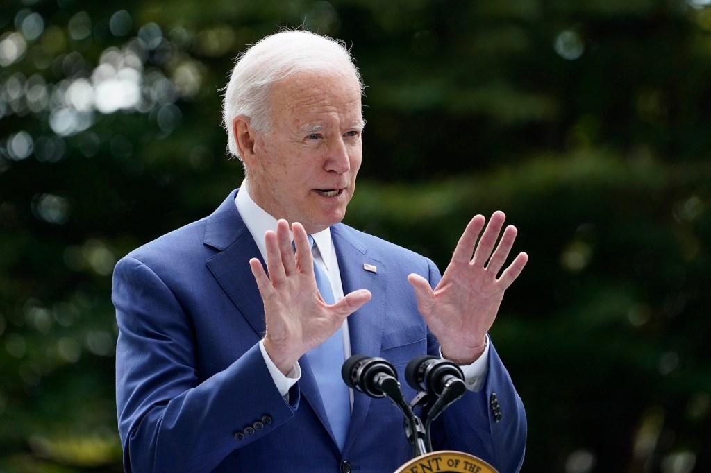President Joe Biden speaks outside the White House in Washington, Friday, Oct. 8, 2021