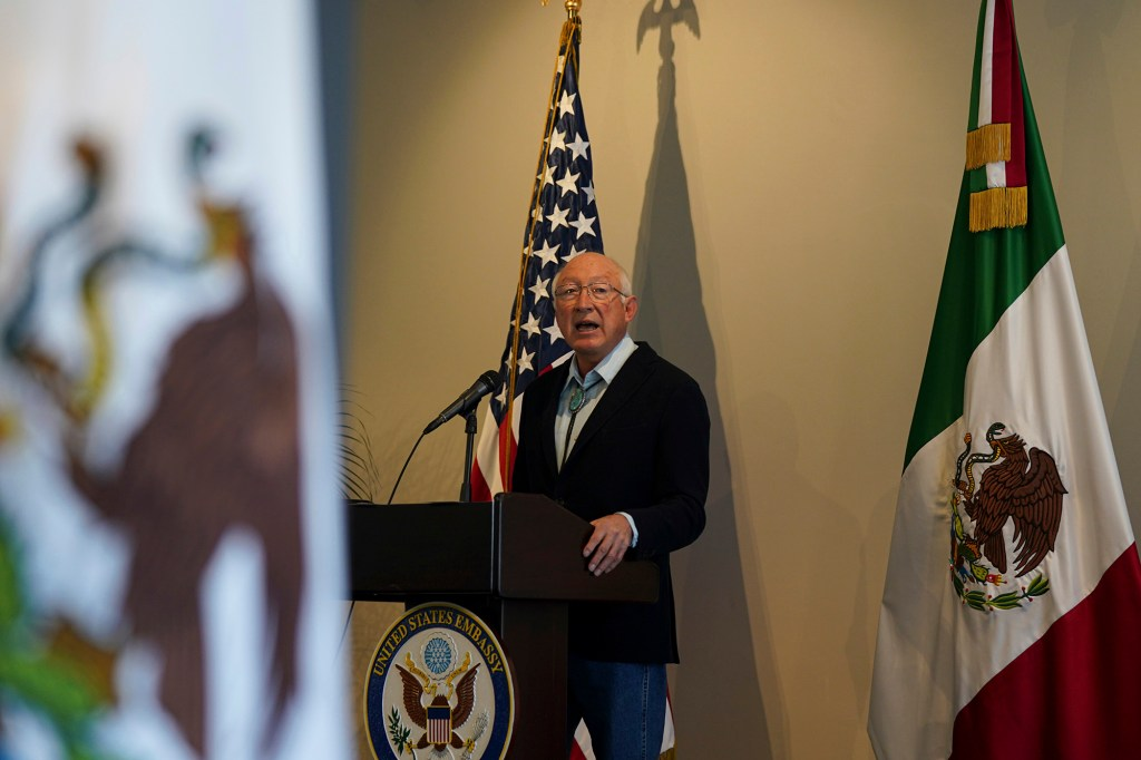 US Ambassador to Mexico Ken Salazar speaks during a news conference in Mexico City on Oct. 9, 2021.