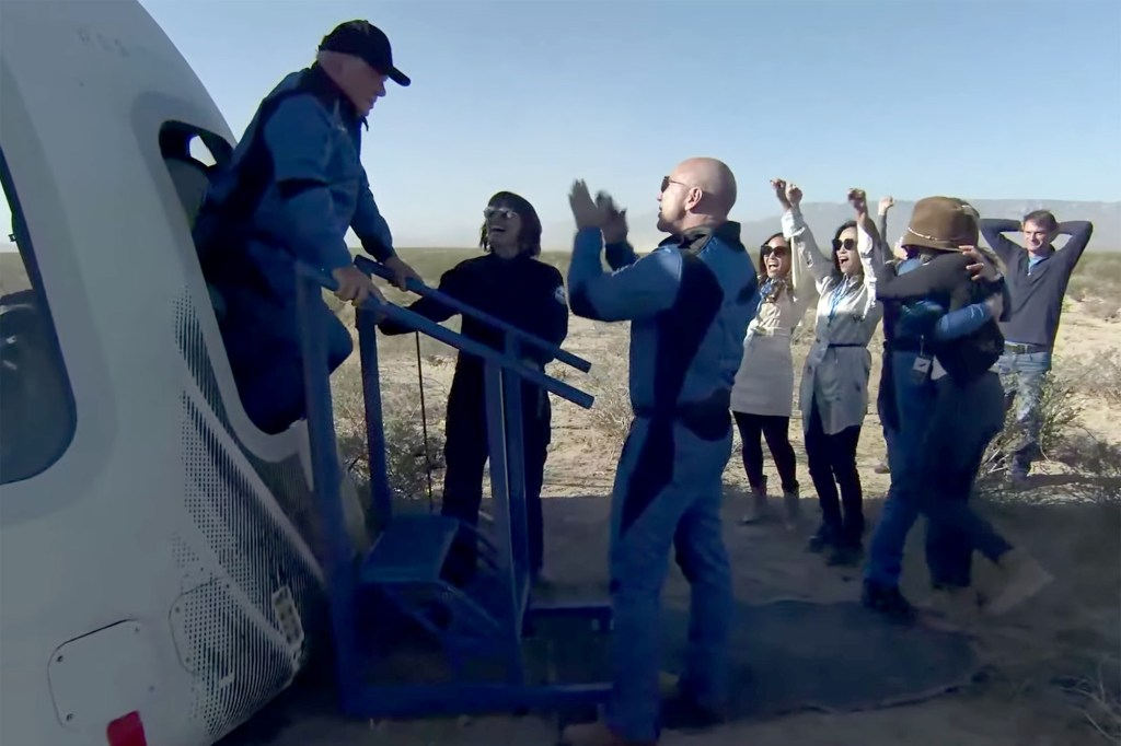 William Shatner, 90,  emerging from the Blue Origin mission that made him the oldest person to ever go to space.