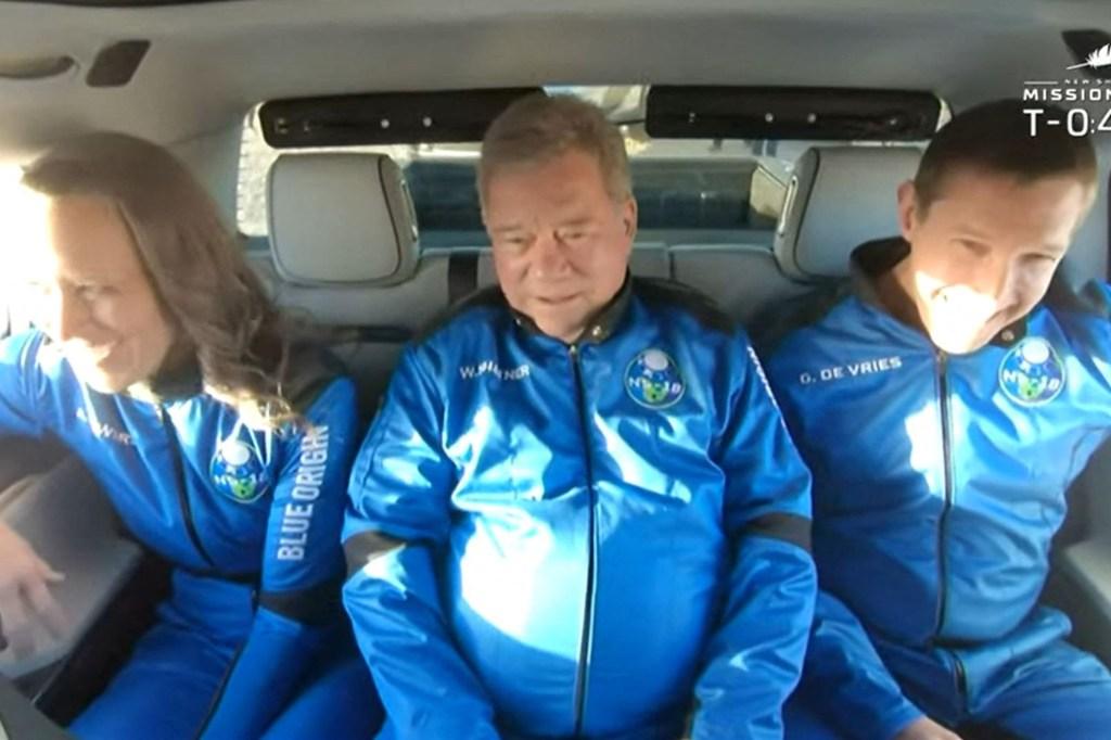 Blue Origin crew members, including William Shatner, ride to the launch pad.