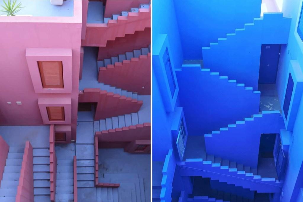 The staircases of La Muralla Roja.
