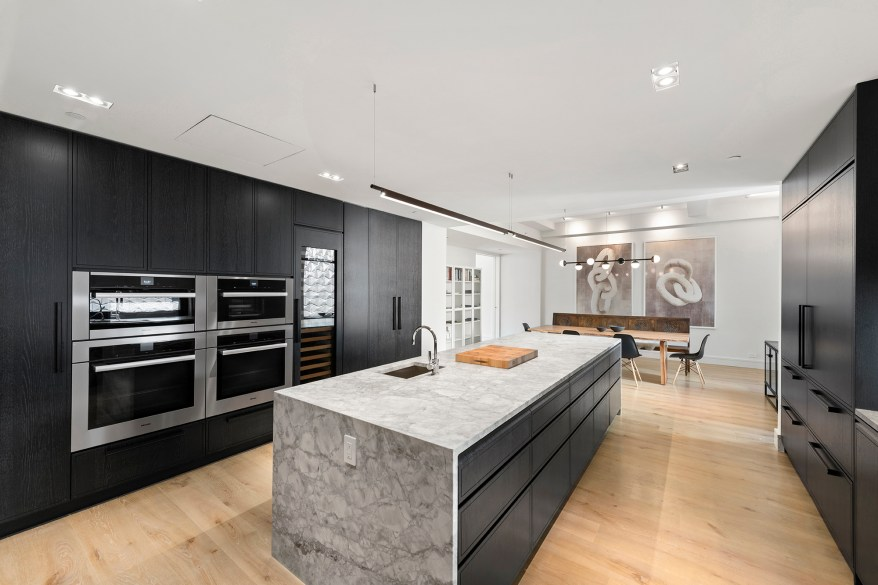 The kitchen island is pictured.