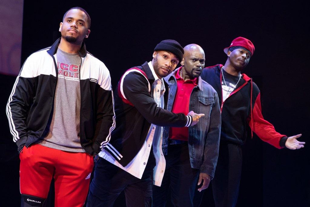"""Left to right: Tristan Mack Wilds, Dyllón Burnside, Forrest McClendon and Da'Vinchi in """"Thoughts of a Colored Man."""""""