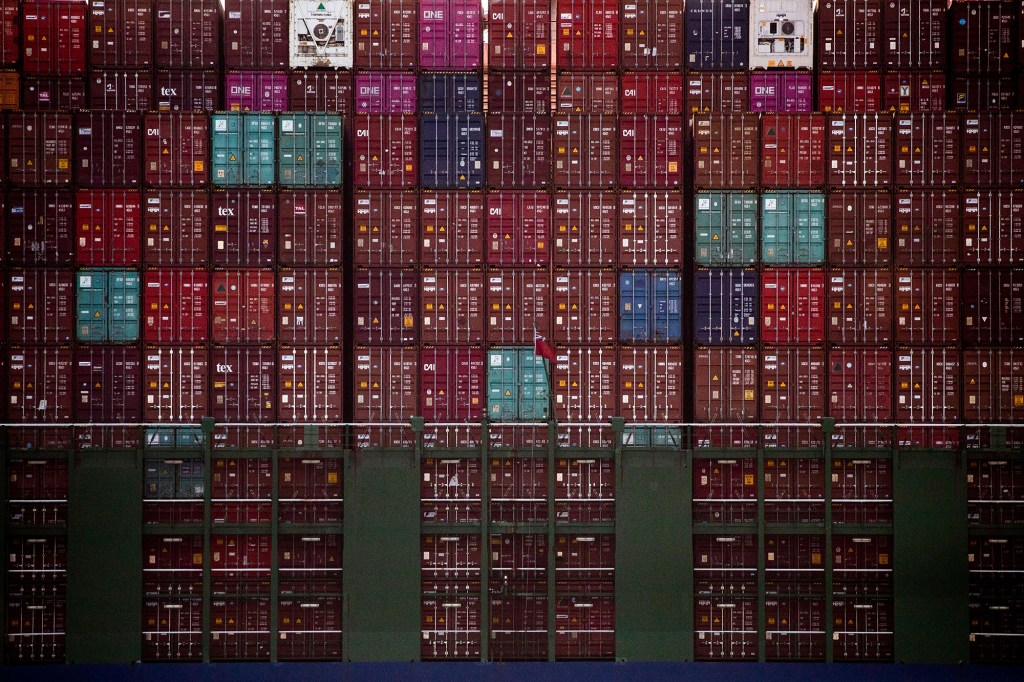 Thousands of containers can be seen on a container ship docked at the Los Angeles and Long Beach Ports in Long Beach, California, USA,