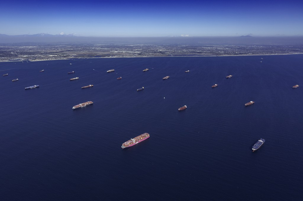 Container ships moored off the Los Angeles and Long Beach ports in Long Beach,