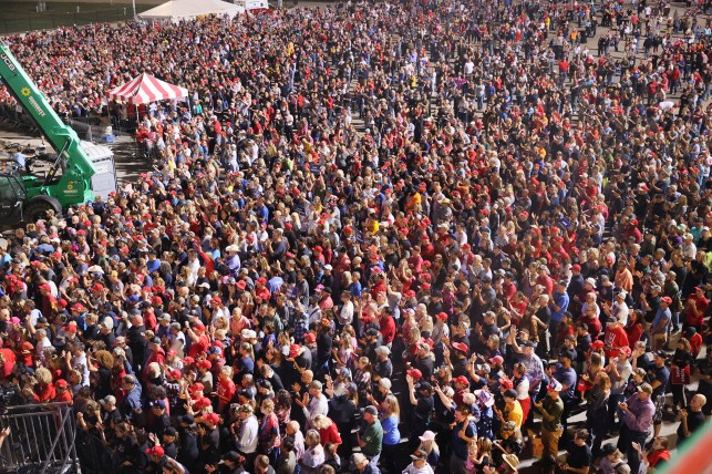 Thousands gather for former President Donald Trump's rally at the Iowa State Fair Grounds in Dave Moines, Iowa on October 9, 2021.