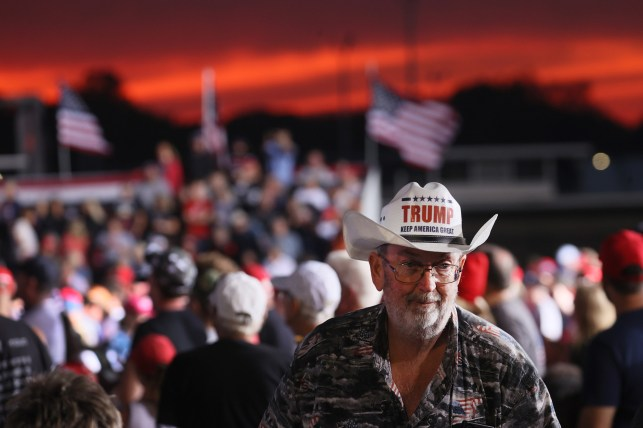 A supporter during former President Donald Trump's rally at the Iowa State Fairgrounds