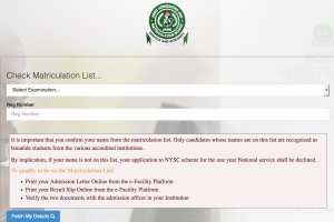 How to check jamb Matriculation list for nysc mobilization