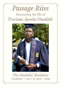Corper Precious Owolabi burial date Announced