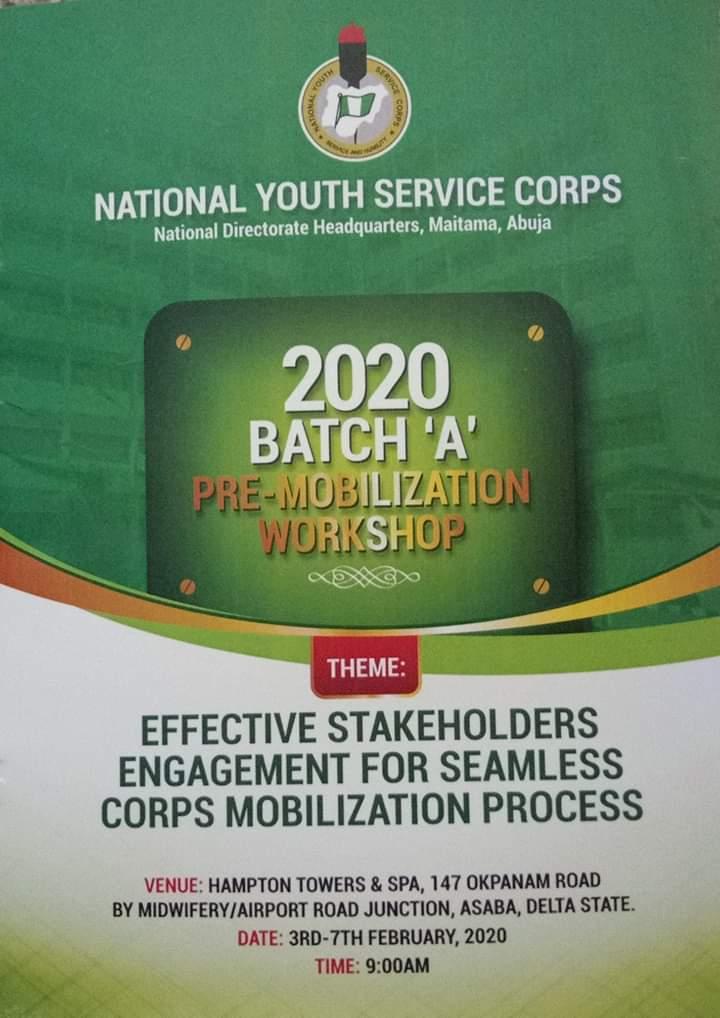 NYSC 2020 Batch 'A' Pre-Mobilization Workshop kicks off
