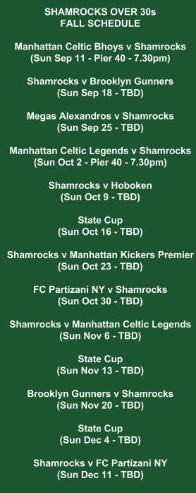 shamrocks over 30s schedule