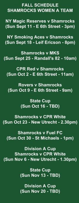 shamrocks women's a team schedule