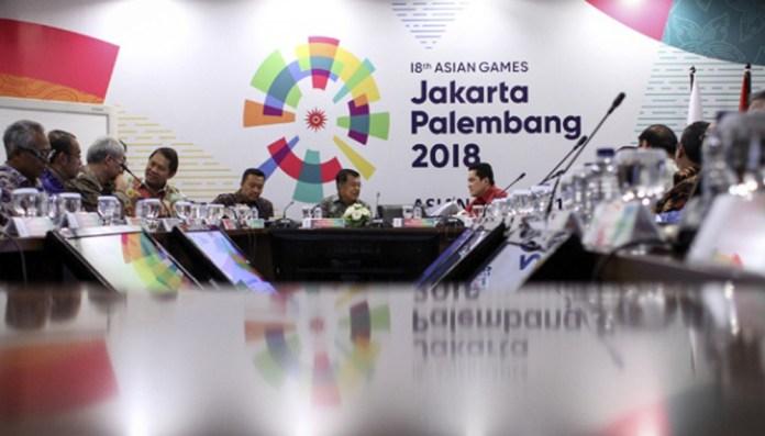 Rapat terbatas terkait penyelenggaraan Asian Games 2018 yang dipimpin oleh Wakil Presiden Jusuf Kalla di Kantor Komite Olimpiade Indonesia (KOI). Sumber foto Tempo