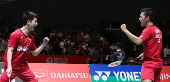 Kevin Sanjaya Sukamuljo/Marcus Fernaldi Gideon Lolos ke Final Japan Open Super Series 2017 (Dok. PBSI)