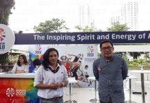 Member Public Relation dan Media, Indonesia 2018 Asian Para Games Organizing Committee (INAPGOC), Andre Budiarjo (kanan) mensosialisasikan Asian Para Games 2018 kepada awak media, pada Jumat (15/12) di Sumarecon Mall Serpong.