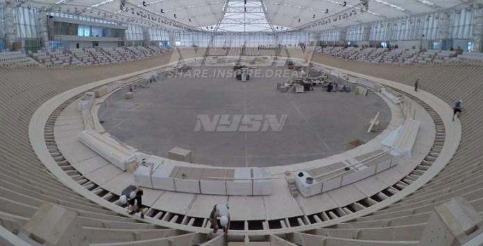 Pembangunan Jakarta Internasional Velodrome (JIV) Rawamangun, Jakarta Timur, kini telah mencapai 87 persen, dan dijadwalkan rampung pada bulan Mei mendatang. (Pras/NYSN)