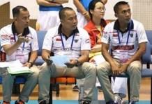 Trio pelatih tim voli putri paralympic Indonesia yakni Achmad Suparto, Deddy Whinata, dan Matsuri akan diuji pada Asian Para Games 2018, Oktober. (Kemenpora)