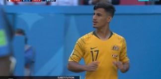 Winger Timnas Australia, Daniel Arzani, menjadi pemain termuda di Piala Dunia 2018, yang membela negaranya. (optussport.com)
