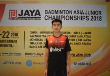Alberto Alvin Yulianto. ikut mengharumkan nama Indonesia di kejuaraan Badminton Asia Junior Championship 2018.