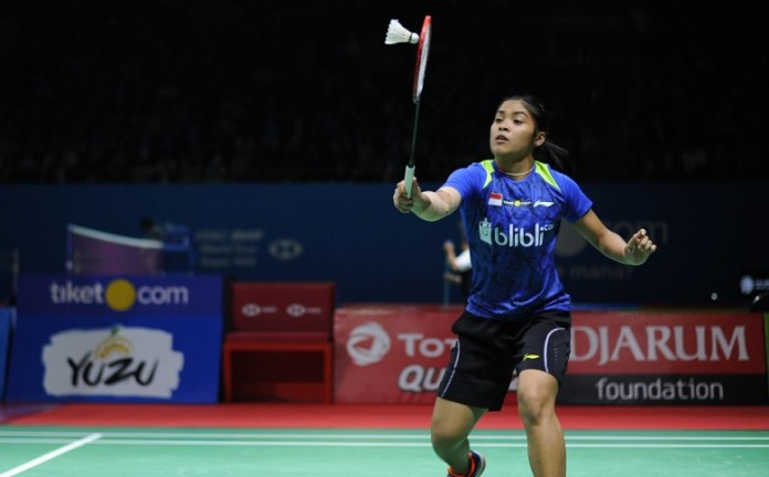 Gregoria Mariska Tunjung bukanlah satu-satunya wakil Indonesia dalam Kejuaraan Dunia 2018. Di sektor tunggal putri, PBSI juga mengirimkan Fitriani. (Pras/NYSN)
