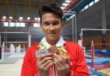 Diluar dugaan, atlet senam junior dari SKO Ragunan asal Riau, Abiyurafi, berhasil meraih 3 medali emas di ajang Asian School Games (ASG) 2018 di Malaysia. (tribunnews.com)